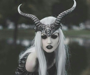 dark, horns, and black image