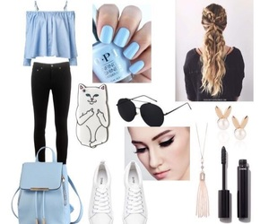 blue, cute, and casual image