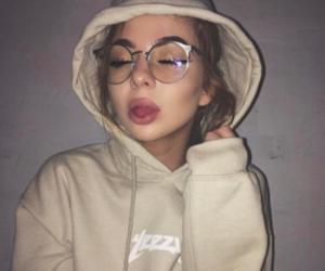 girl, glasses, and makeup image