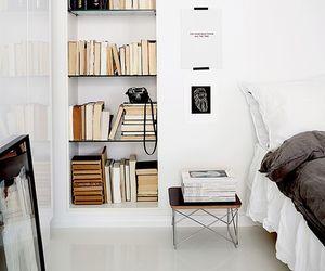books, interior, and white image