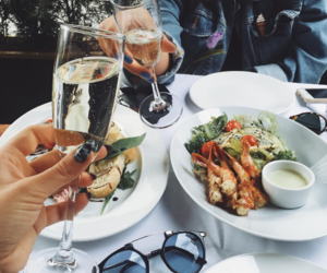 food, champagne, and drink image