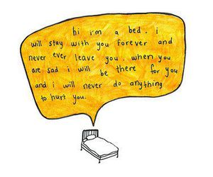 bed, quotes, and text image