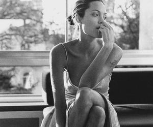 Angelina Jolie, black & white, and dress image