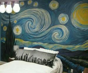 starry night, bedroom, and van gogh image