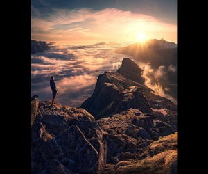 mountains, sky, and sunset image