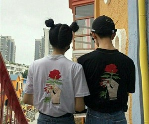 couple, grunge, and rose image