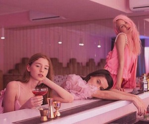 girl, pink, and friends image