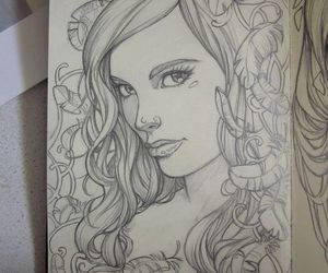 drawing, girl, and sketch image
