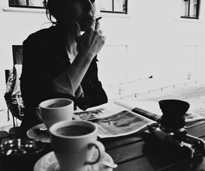 black and white, cigarette, and coffee image