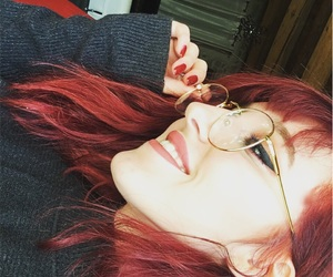 eyeliner, glasses, and redhair image