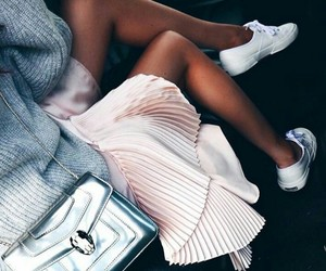 fashion, outfit, and pleated skirt image
