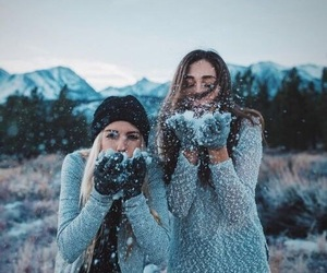 girl, snow, and friends image