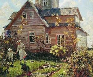 art, cottage, and landscape image