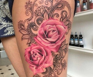 beautiful, tattoo, and rose image