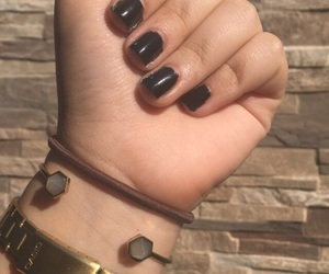 nails, whatch, and black polish image