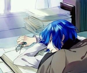 anime, sleeping, and blue hair image