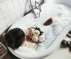 flowers, girl, and bath image