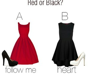 black and white, red, and outfit image
