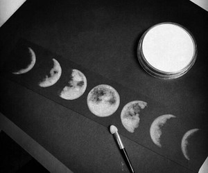 black & white, draw, and moon image