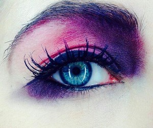 blue eyes, pink, and make up image