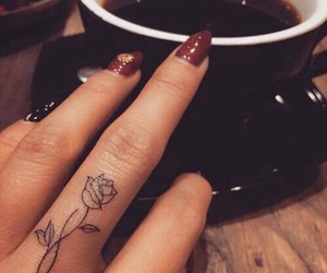 tattoo, rose, and fingers image