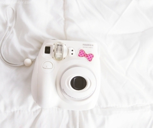 bed, fujifilm instax, and bow image