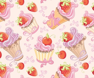 background, cherry, and cupcake image