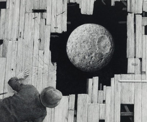 moon, black and white, and man image
