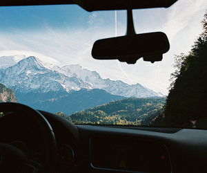 car, mountains, and photography image
