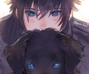 anime, boy, and dog image