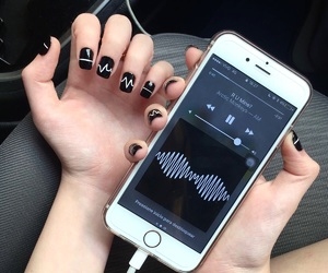 music, iphone, and nails image