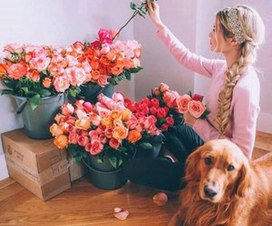 flowers, girl, and dog image
