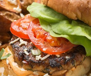 burger, Chicken, and feta image