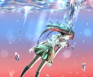 anime, blue sea, and fall image