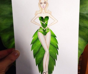 drawing, leaf, and dress image
