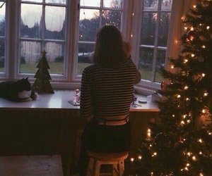 girl, window, and christmas image