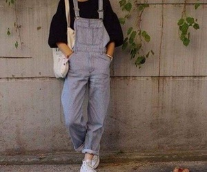 blue., fashion, and overalls image