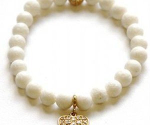 white coral bracelet, white coral beads, and white coral gemstone image