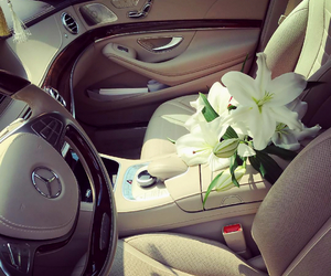 flowers, luxury, and mercedesbenz image