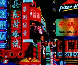 neon, neon signs, and shopping street image