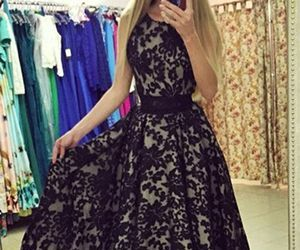 black prom party dress, 2017 prom dress:, and chic prom party dress image