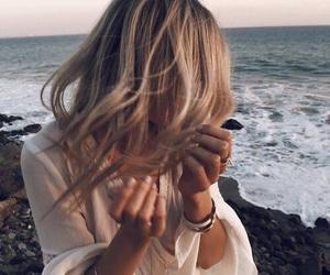 girl, hair, and beach image