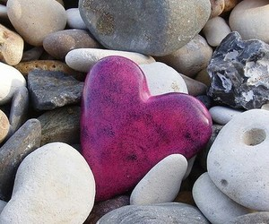 heart, stone, and pink image