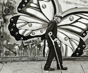 butterfly, black and white, and old image