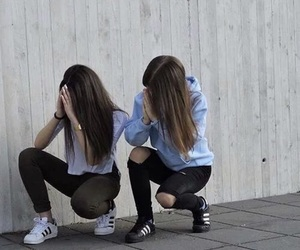 girl, friends, and adidas image