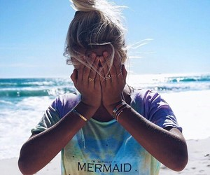 girl, beach, and mermaid image