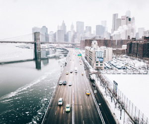 city, travel, and snow image