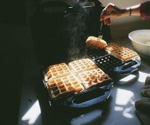 breakfast, morning, and waffles image