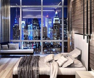 bedroom, home, and city image
