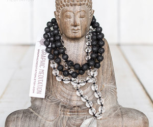 etsy, black mala beads, and hand knotted image